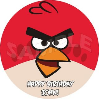 Angry Birds Custom Personalized Round Edible Cake Image Topper 7.5 A