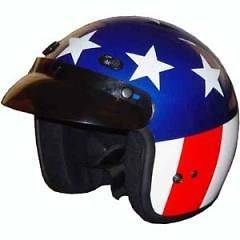 DOT   EASY RIDER AMERICAN FLAG   Motorcycle Helmet   3/4 Open Face