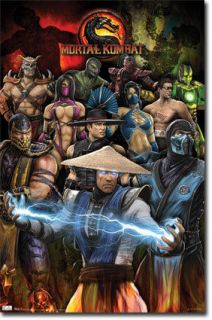 XBOX PS3 MORTAL KOMBAT GROUP COLLAGE 22x34 NEW VIDEO GAME POSTER FREE
