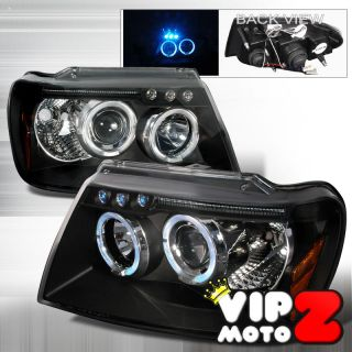 1999 2004 Jeep Grand Cherokee BLACK BEAST LED Halo Projector