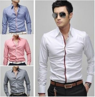 s307 new mens luxury stylish casual dress slim fit shirts