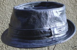 Pork pie hat battered black leather handmade S/M/L/XL