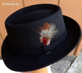 CASHMERE BLEND FELT Black Pork Pie Gambler Hat Belfast Telescope