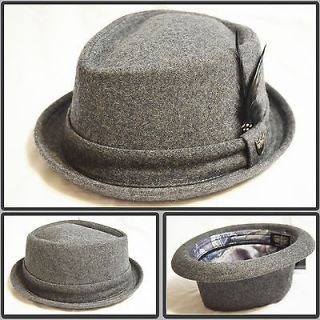 WOOL FEDORA PORK PIE UPTURN STINGY BRIM FEATHER TRILBY HAT LINED GRAY