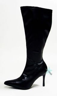 WIDE CALF POINTY TOE KNEE HIGH STYLISH PLUS SIZE BOOTS