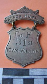 Abner Hunt Co F 31st Iowa Volunteer Infantry Wounded Civil War Veteran