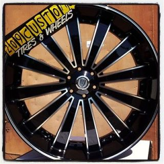 RIMS WHEELS TIRES VW225 22X8 BLACK CADILLAC STS 2004 2005 2006