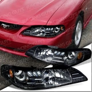 FORD MUSTANG COBRA GT HEADLIGHT LED BLACK LEFT+RIGHT NEW PAIR SET 94