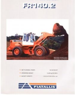 Fiat Allis FR140.2 wheel loader specs sales literature