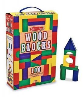 Doug Classic Wooden Building Block Set Kids Colored Wood Blocks Shapes