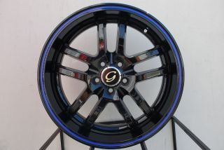 LINE G817 WHEEL 5X100 +38 BLACK BLUE RIM FITS VOLVO S40 V40 C70 S60