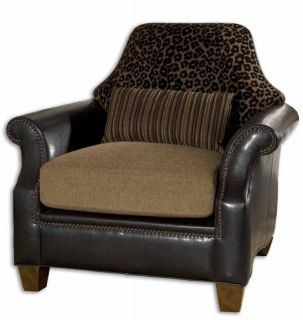 Black Faux Leather Leopard Print Brown Studded Armchair