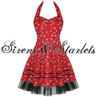 DEAD THREADS LADIES NEW RED NAUTICAL SAILOR ANCHOR ROCKABILLY 50S