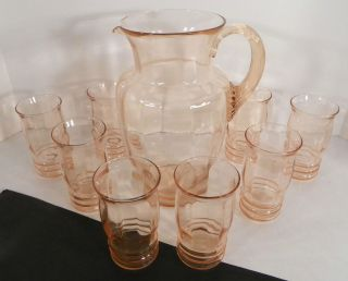 MacBeth Evans Depression Pink Optic Glass Water Set Pitcher 8 Tumblers