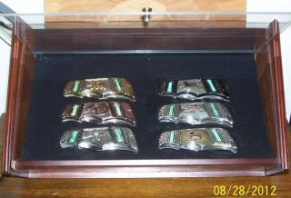 Set of 6 Franklin Mint American Indian Collector Knives + Display Case