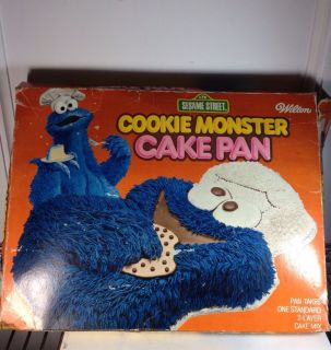 Wilton LARGE COOKIE MONSTER cake pan MUPPET mold tin BOX INSTR
