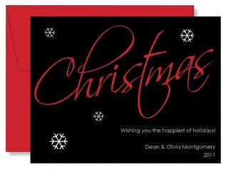 Custom Personalized FLAT Modern Black Christmas Note Cards