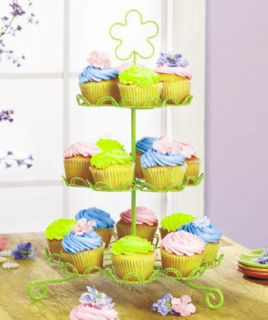 Beautiful Celery Green Cupcake or Muffin Stand + Liners