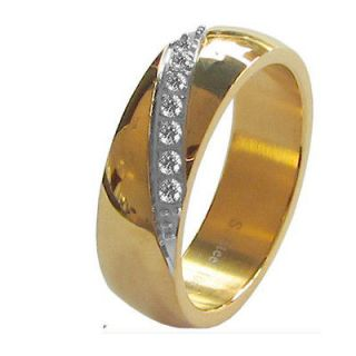 cubic zirconia wedding band yellow gold