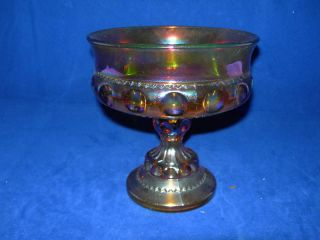 Indiana Carnival Glass Kings Crown Compote Irridescent