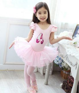 Girls Party Dance Ballet Tutu Dress Costume Pink Leotard Color