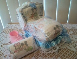 Mickey Minnie Mouse Bassinet Diaper Cake Baby Shower Gift Boy Girl