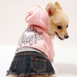 Pink Hoodie Heart Jeans Denim Dress Skirt Dog Clothes Apparel 5 Size