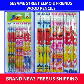 36) Sesame Street Elmo Big Bird & Friends Wood Pencils Party Favors