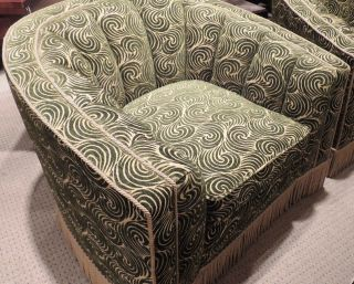 Pair of Art Deco large Chairs, Scalamandre fabric
