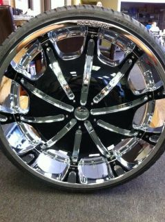 24 Wheels Rims Package + FREE TIRES ROCKSTARR 557 CHROME + BLACK
