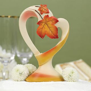 Fall Wedding Cake Toppers Autumn Leaf Heart Shaped Cake Topper Top