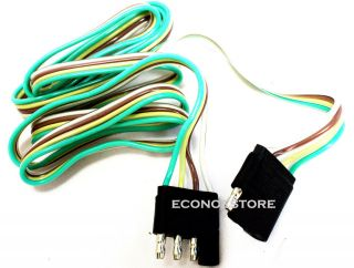 ft 4 WAY FLAT TRAILER LIGHT WIRE EXTENSION CORD PLUG LONG WIRE