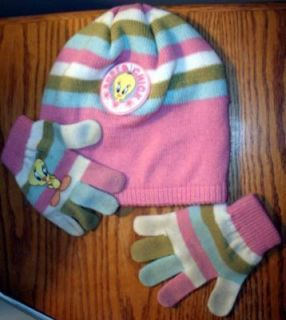 Little Girls Snow Ski Cap Hat & Gloves Set Pink Stripes Tweety Bird