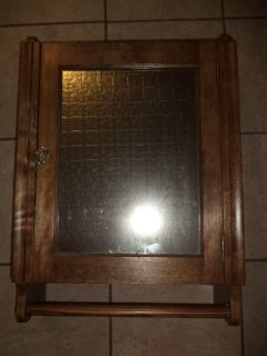 VINTAGE HICKORY WOOD MEDICINE CABINET MIRROR​ FIXED SHELVES TOWEL