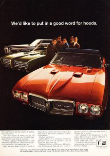 1969 Pontiac GTO Firebird Grand Prix Color Vintage Advertisement Ad