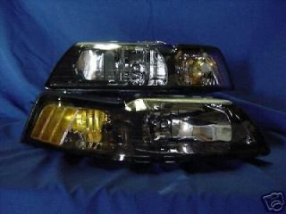 99 04 FORD MUSTANG HEADLIGHTS HEADLAMPS PAIR BLACK SET SVT COBRA GT