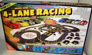 Hot Wheels 440X2 4 Lane HO Scale Slot Car Track Set W/4 Cars 36693
