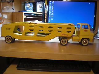 ORIGINAL   TONKA   AUTO TRANSPORTER COE TRUCK & TRAILER   YELLOW