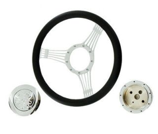 14 Billet Chrome Wrap Leather Banjo Steering Wheel &Adapter &Flame