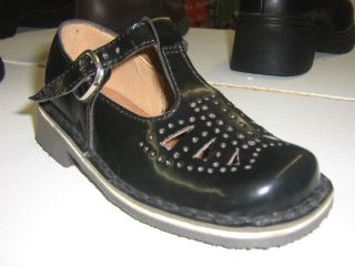 Girls School Shoe T Bar Black Leather Sizes 9 2 New