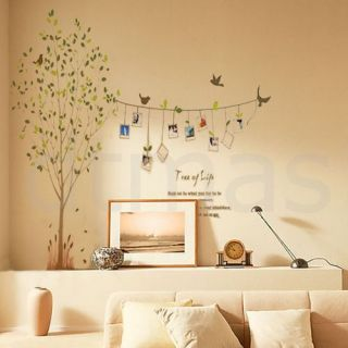 Photo Frame Leaves Tree Bird Removable Kids Room Art Mural Wall