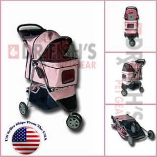 Newly listed Folding Pink Pet Dog Cat Stroller Carrier 3 Wheel