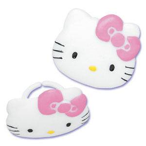 HELLO KITTY CUPCAKE RINGS CAKE TOPPERS PARTY FAVORS 12 ct