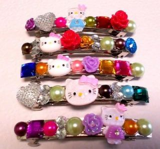 Wholesale Lot of 5 Hello Kitty Rhinestone Flower Hair Clip Barrette