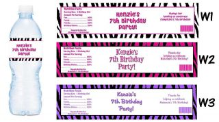Zebra Print Pink Purple ~ Printed Water Bottle Labels ~ Birthday Party