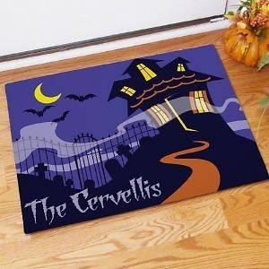 Personalized Haunted House Halloween Doormat Fall Spooky Bats Welcome
