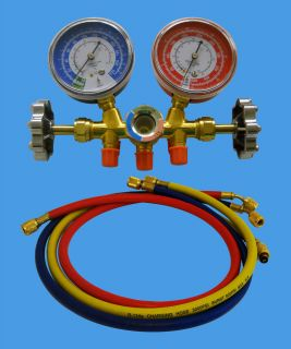 MANIFOLD GAUGE SET R134A R12 WITH SIGHT GLASS 36 HOSES