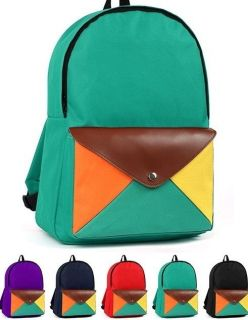 New Leather Color Pocket Women Ladys Girls Mens Unisex Backpack School