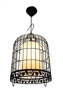Brand New 1 Light Pendant Ceiling Light in Black Iron Bird Cage Shade