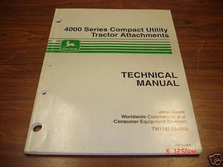 John Deere compact tractor attachments service Manual